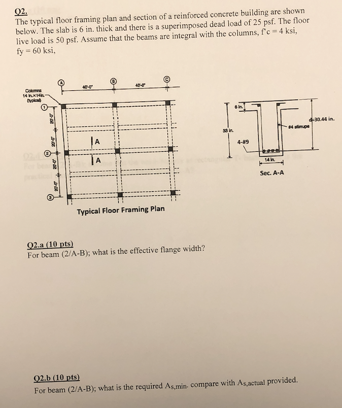 Solved: Q2. The Typical Floor Framing Plan And Section Of ...