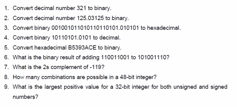 Convert decimal number 321 to binary. Convert dec