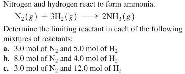Nitrogen And Hydrogen React To Form Ammonia. N2(g)... | Chegg.com