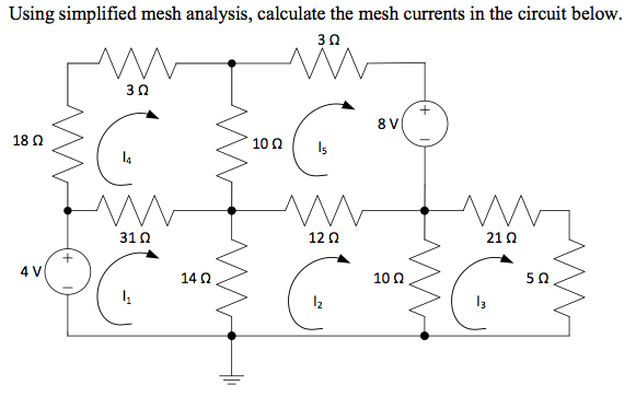 Using simplified mesh analysis, calculate the mesh