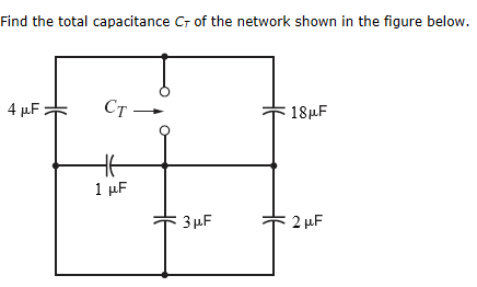Find the total capacitance CT of the network shown