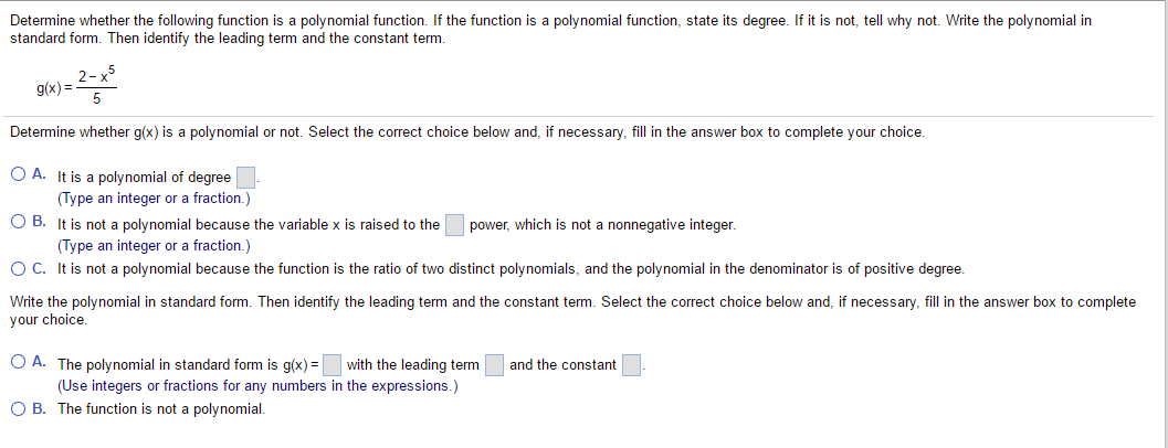 Solved Determine Whether The Following Function Is A Poly