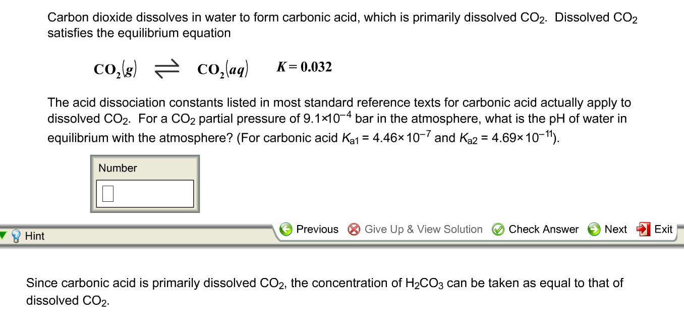 Carbon Dioxide Dissolves In Water To Form Carbonic... | Chegg.com