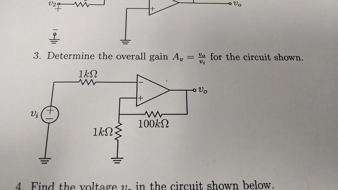 Determine the overall gain Av = for the circuit sh