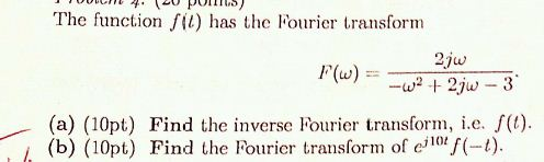 The function f(t) has the fourier transform F( ome