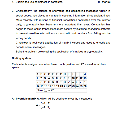 1 Explain The Use Of Matrices In Computer 5 Marks 2