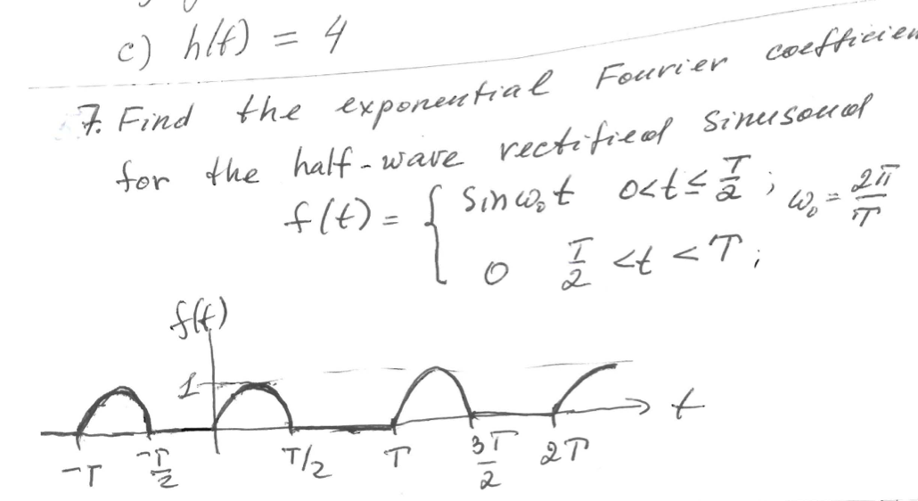 Find the exponential Fourier coefficient for the h