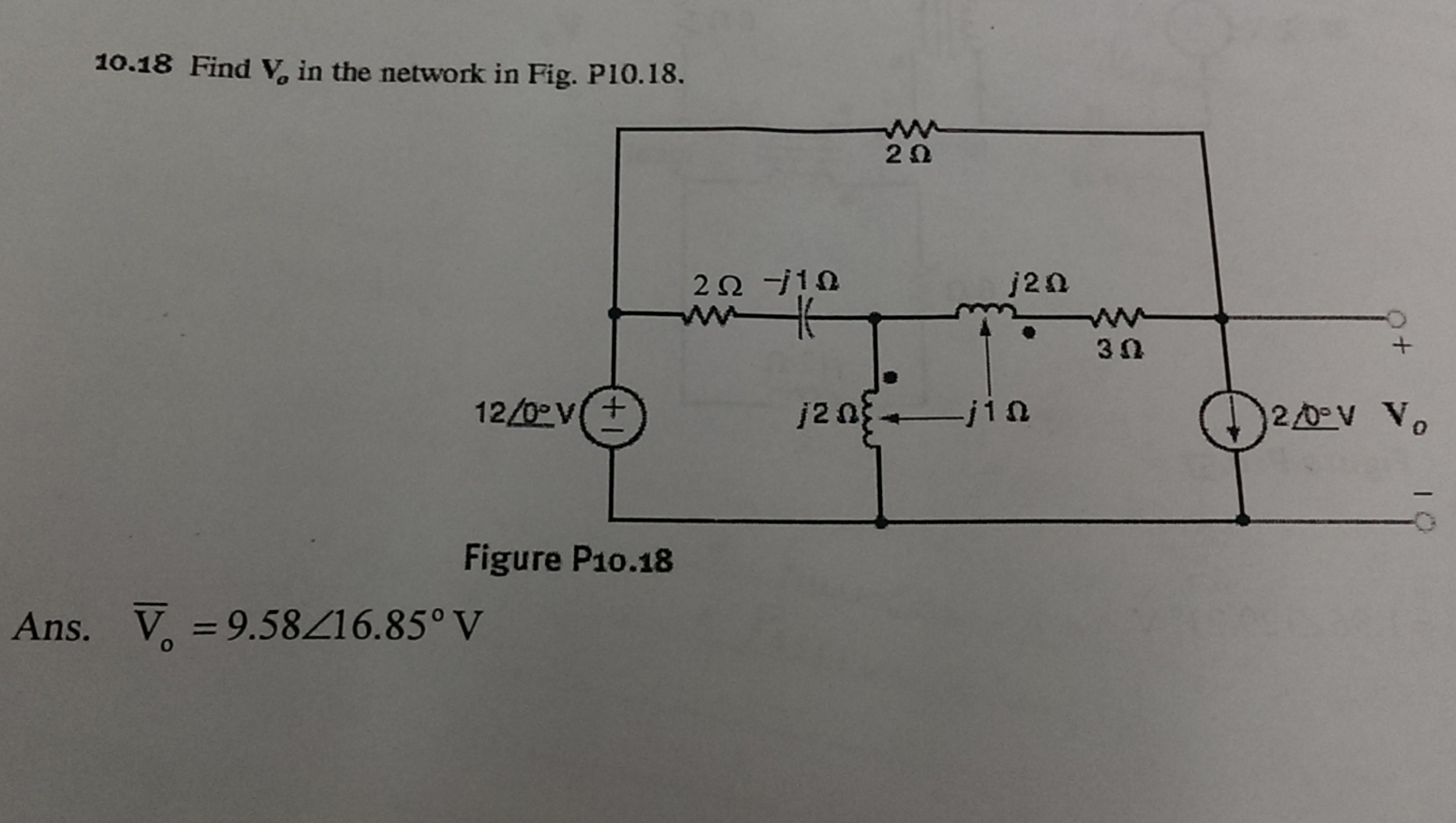 Find V0 in the network in Fig. P10.18. Ans. V0 =9