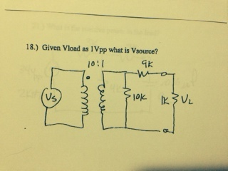 Given Vload as 1Vpp what is Vsource?