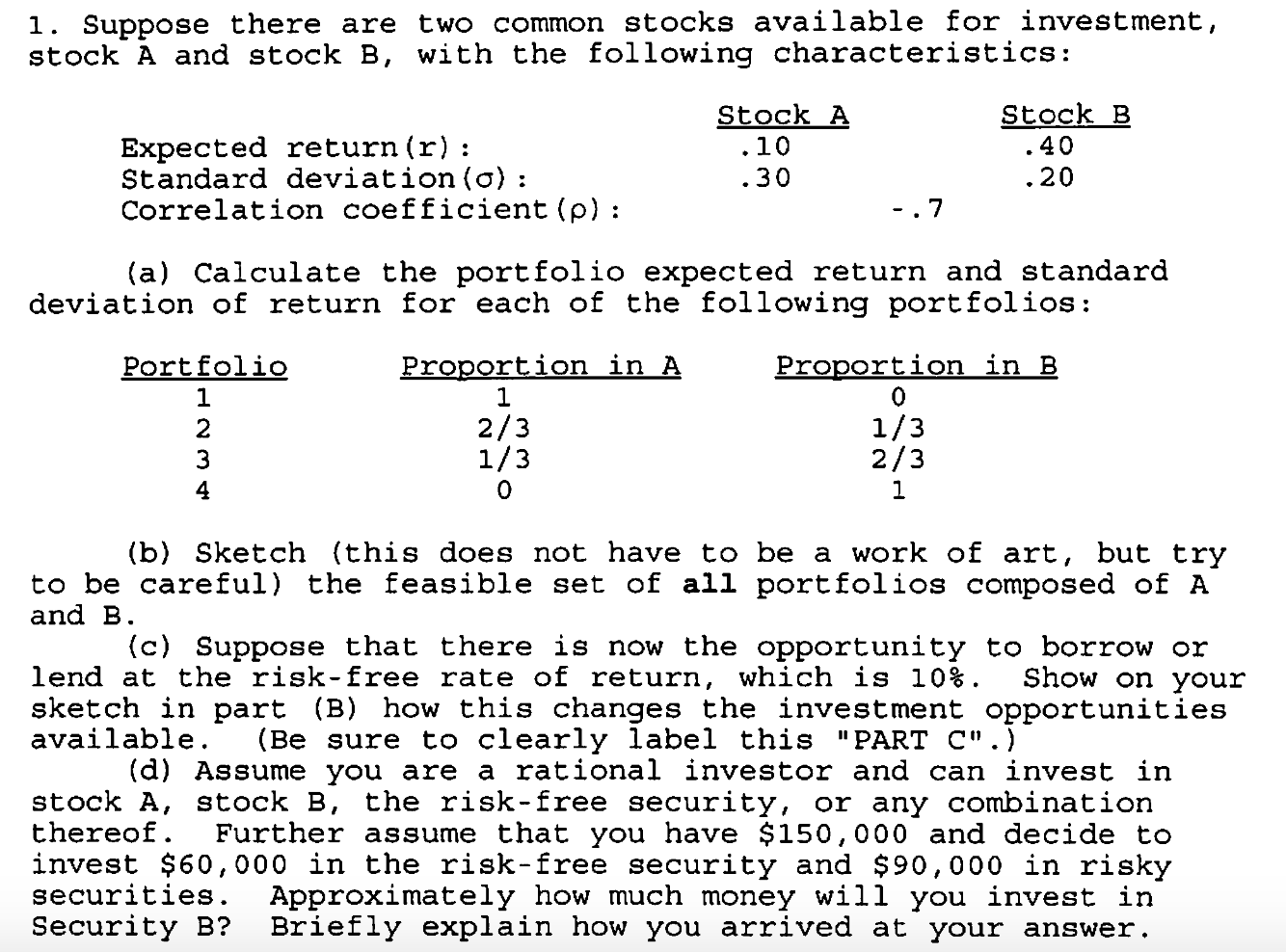 Calculate portfolio expected return and sd return chegg suppose there are two common stocks available for ccuart Images