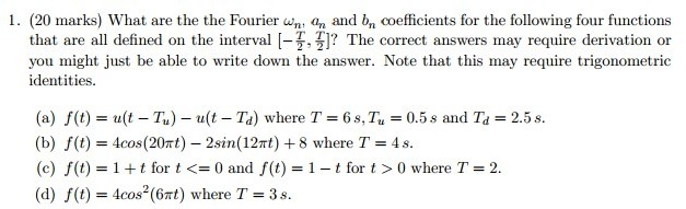 What are the Fourier omega n, an and bn coefficien