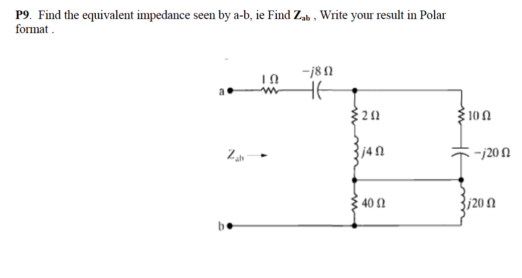 Find the equivalent impedance seen by a-b. ie Find