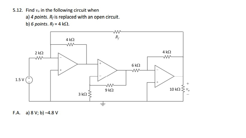 Find v0 in the following circuit when 4 points. R