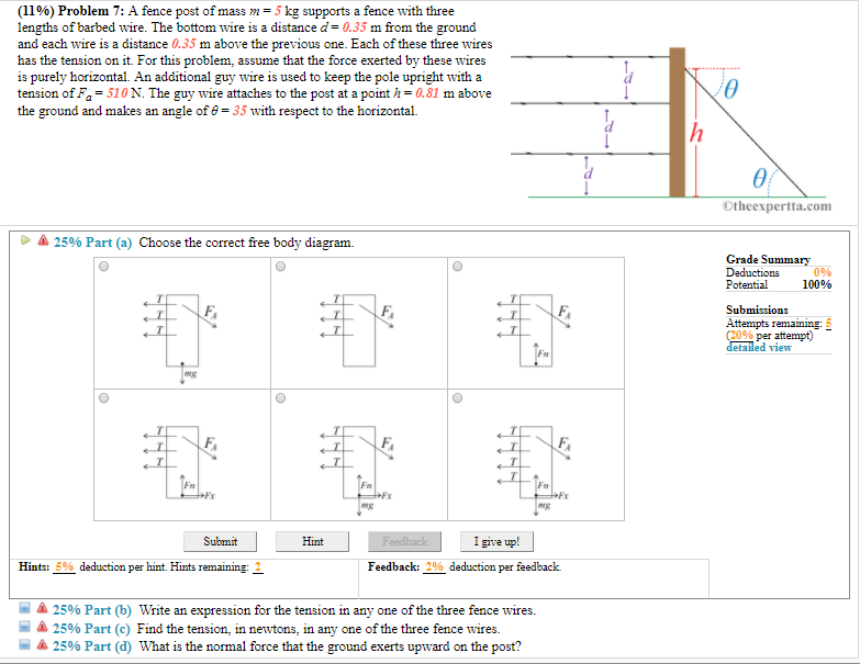 solved 1196 problem 7 a fence post of mass 5 kg supp rh chegg com Wire Diagram Template Home Electrical Wiring Diagrams