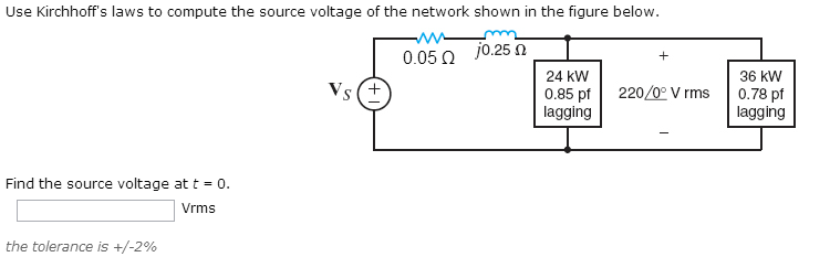 Use Kirchhoff's laws to compute the source voltage