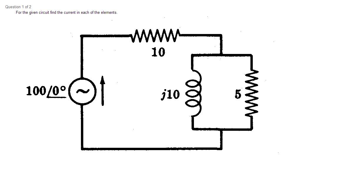 For the given circuit find the current in each of