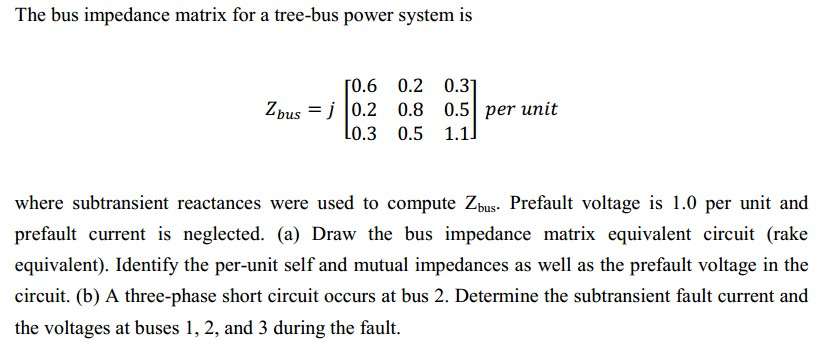 The bus impedance matrix for a tree-bus power syst