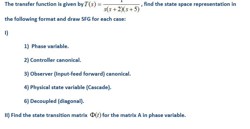 The transfer function is given by T(s) = find the