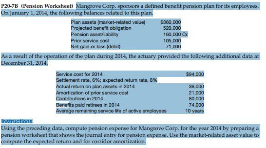 P207B Pension Worksheet Mangrove Corp Sponsors – Pension Worksheet