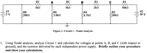 Figure 1: Circuit 1 - Nodal Analysis Using Nodal