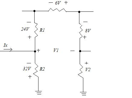 Determine the voltages    \(V_{1