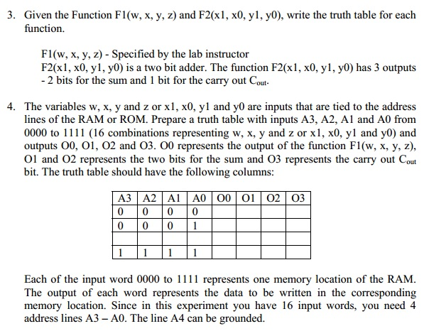 Given the Function F1(w, x, y, z) and F2(x1, x0, y