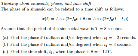 Thinking about sinusoids, phase, and time shift T