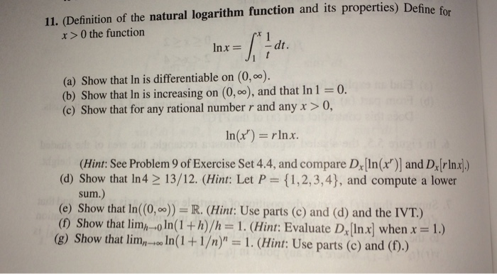 Solved define for 11 definition of the natural logarith define for 11 definition of the natural logarithm function and its properties 0 sciox Image collections