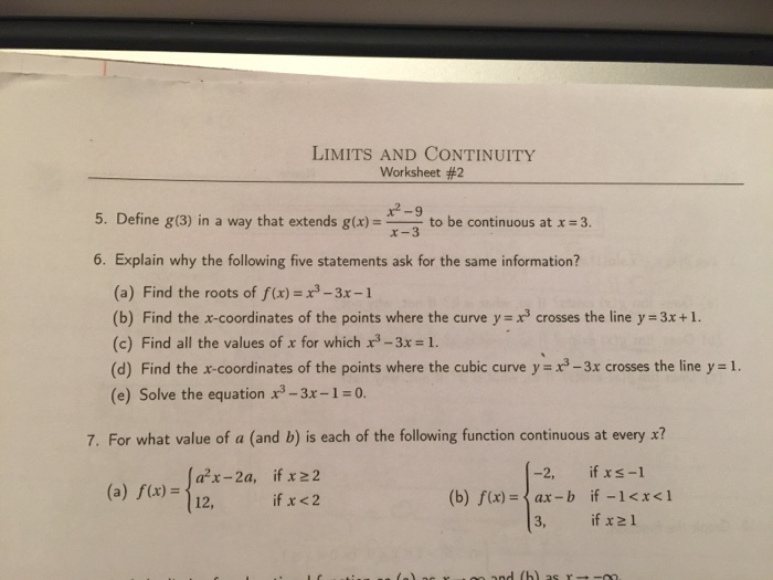 LIMITS AND CONTINUITY Worksheet 2 29 5 Define G – Limits and Continuity Worksheet