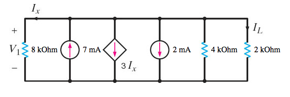 Determine IL in the circuit in the Figure.