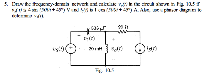 Draw the frequency-domain network and calculate v0