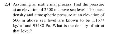 Assuming An Isothermal Process Find The Pressure Cheggcom - Find elevation above sea level