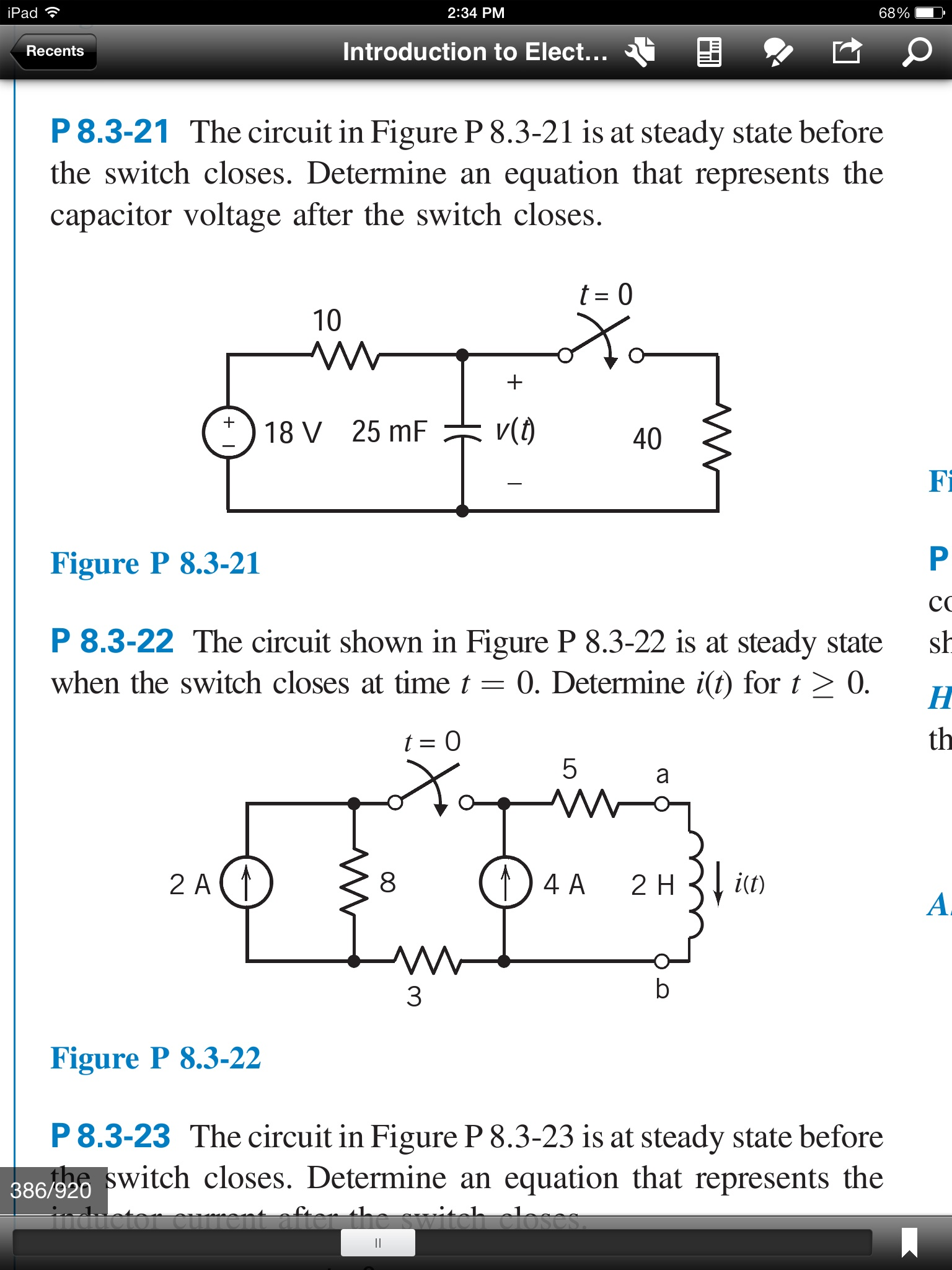 The circuit in Figure P 8.3-21 is at steady state