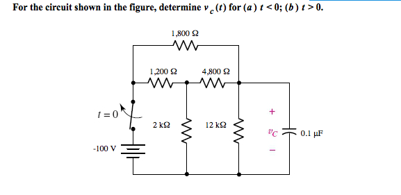 For the circuit shown in the figure, determine vc