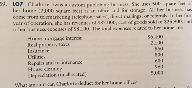 Solved: 59. LO7 Charlotte Owns A Custom Publishing Busines ...
