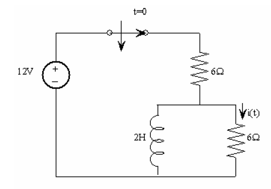 Find i(t) for t>0 in the circuit as shown below.