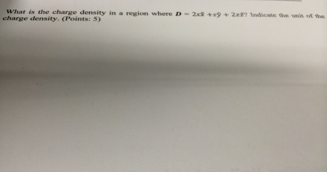 What is the charge density in a region where D=2xx