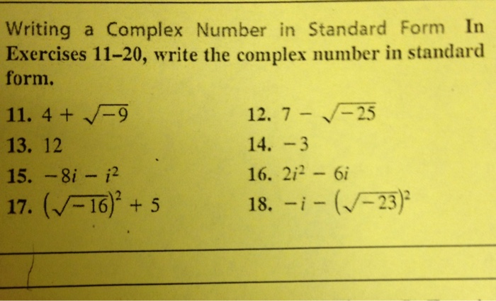 how to write a complex number in standard form
