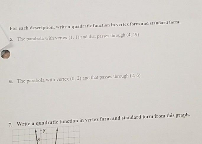 Solved For Each Description Write A Quadratic Function I