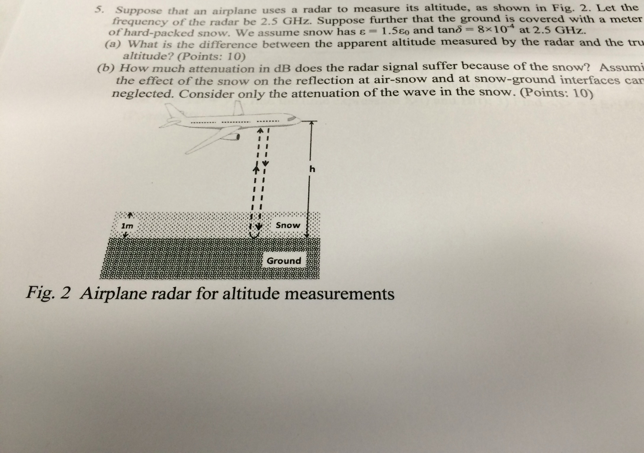 Suppose that an airplane uses a radar to measure