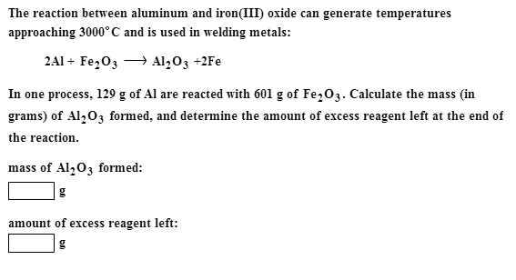 The reaction between aluminum and iron(III) oxide