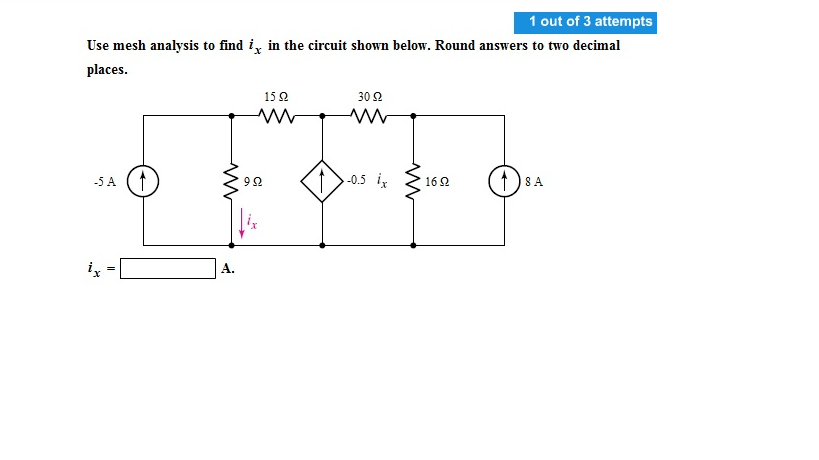 Use mesh analysis to find ix in the circuit shown