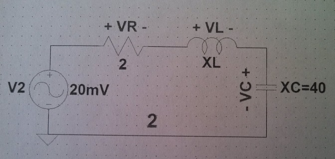 For the series circuit below Find the value XL, f