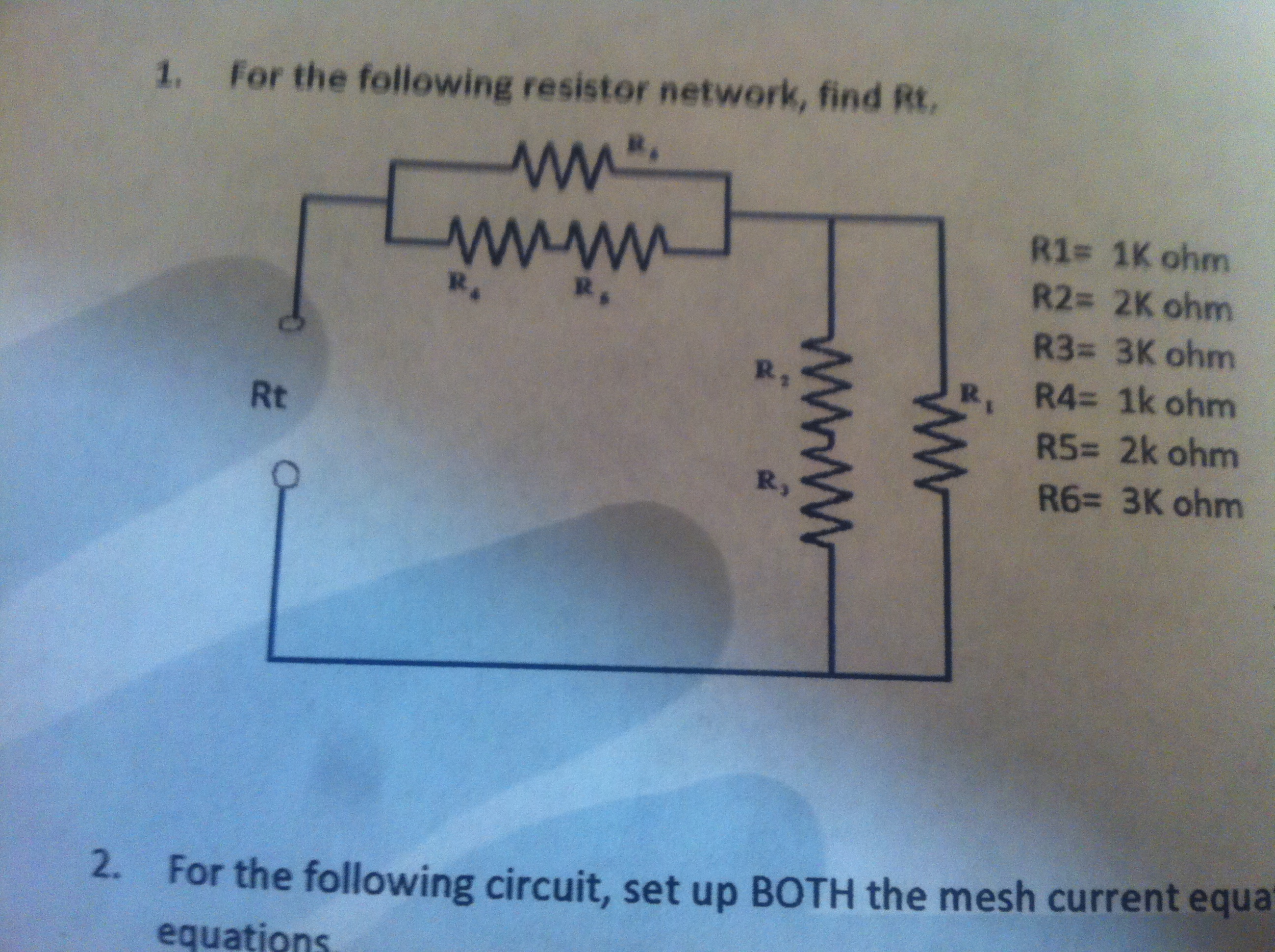 Find the following resistor network, find Rt