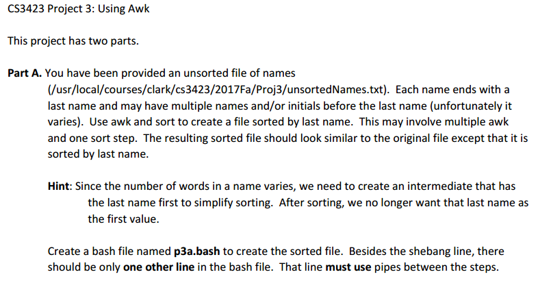 CS3423 Project 3 Using Awk This Has Two Parts Part A You
