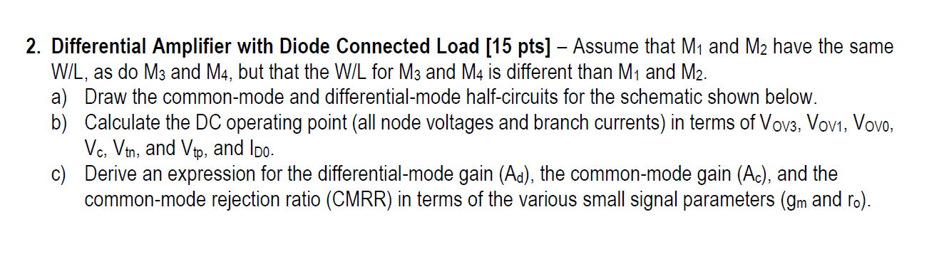 Differential Amplifier with Diode Connected Load: