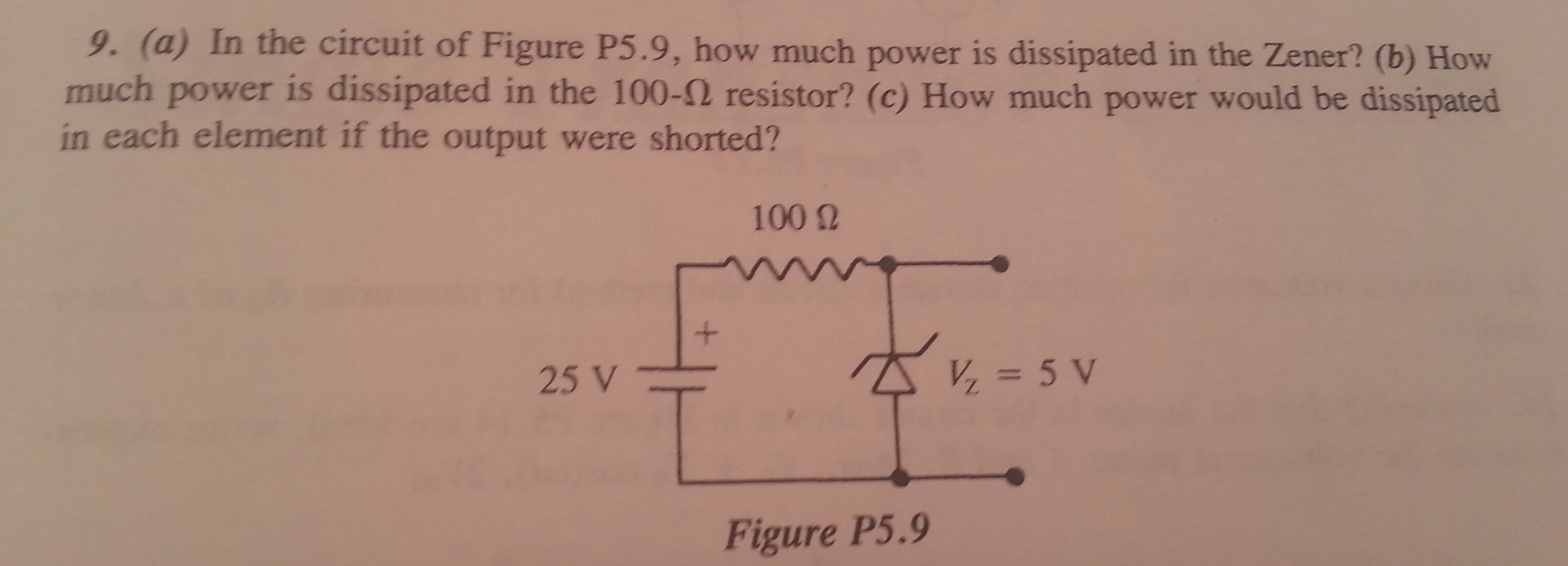 In the circuit of Figure P5.9, how much power is d