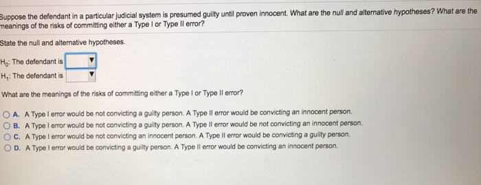 Question: Suppose The Defendant In A Particular Judicial System Is Presumed  Guilty Until Proven Innocent. W..  What Is Presumed