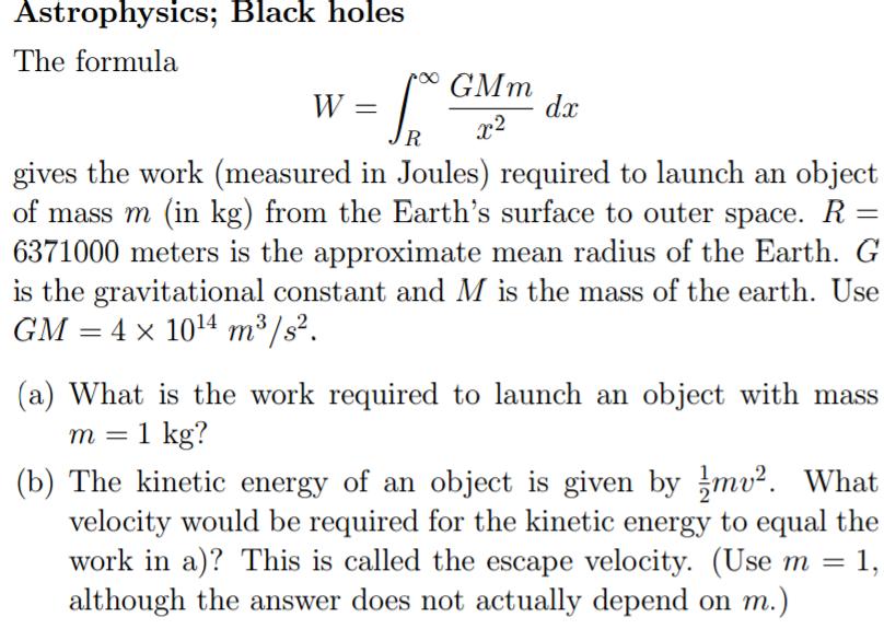 escape velocity formula