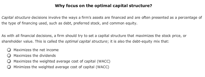 capital structure test solutions We introduce you to capital structure and bankruptcy.
